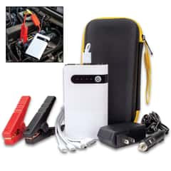 Portable Car Battery Jumper And Power Bank With Case - 8,000 MAH, Battery Clamps, Home And Car Adaptor, USB Multi-Head Cable