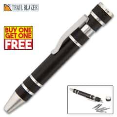 "Trailblazer Pocket Screwdriver Pen - Aluminum Construction, Eight Bit Sizes, Magnetic Tip, Textured Grip, Pocket Clip - Length 4 1/2"" - BOGO"