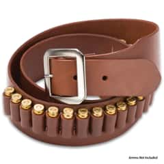 Mahogany Leather Gun Belt - 20 Cartridge Loops