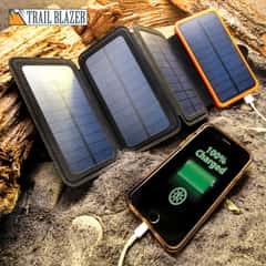 "10,000 MAH Folding Solar Charger And Power Bank - USB Ports, LED Lights, Four Panels, Indicator Lights - Dimensions 3 1/4""x 6"""
