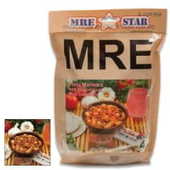 MRE Pasta Marinara With Veggie Crumbles Entrée - One Serving, Fully-Cooked, Added Vitamins And Minerals, Five-Year Shelf-Life