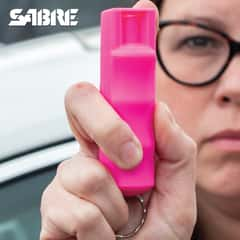 Sabre Pink Hardcase Three-In-One Pepper Spray - Quick Release Key Ring, TPU Case, Finger Grip, Reinforced Safety