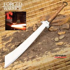 Forged Warrior Dadao Sword With Sheath - Spring Steel Blade, Hardwood Handle, Brass Studs, Open-Ring Pommel - Length 31 3/4""