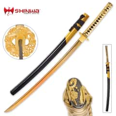 Shinwa Golden Knight Katana Sword with Wooden Scabbard - 1045 High Carbon Steel - Genuine Ray Skin