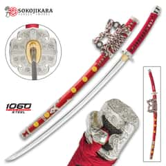 "Sokojikara Senzo Handmade Tachi / Samurai Sword - 1060 Carbon Steel, Clay Tempered, Hand Forged, Genuine Rayskin - Red Tachi-Style Saya - Fully Functional, Battle Ready - Full Tang - 41"""