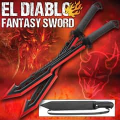El Diablo Two-Piece Sword Kit - Stainless Steel Construction, Cord-Wrapped Handles, Nylon Sheaths - Lengths 25 3/4""