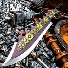 Black Legion Aether Master Steamer Sword With Sheath - Stainless Steel Construction, Non-Reflective Coating, Raised Design - Length 24""