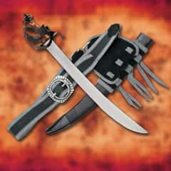 The Corsair Pirate Cutlass And Scabbard - High Carbon Steel Blade, Ray Skin Wrapped Handle, Steel Fittings With Blackened Finish
