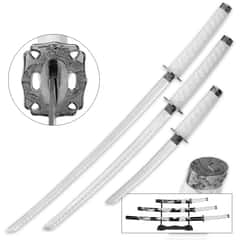 Ghost Katana 3-Piece Carbon Steel Sword Set with Display Stand