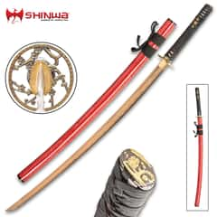 Shinwa Dogwood Flower Katana With Scabbard - 1045 Carbon Steel Blade, Cast Metal Alloy Tsuba, Brass Habaki, Genuine Rayskin - Length 39 1/2""