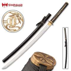 "Shinwa Black Flying Dragon Katana And Scabbard - Hand-Forged 1045 Carbon Steel Blade, Hardwood Handle, Genuine Rayskin - Length 39"""