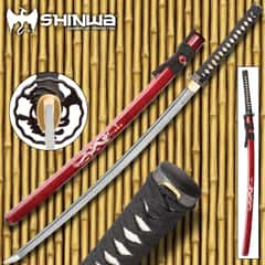 Shinwa Imperial Dragon Handmade Katana / Samurai Sword - Hand Forged Damascus Steel - Mother of Pearl Dragon Inlay - Genuine Ray Skin - Fully Functional, Full Tang, Battle Ready