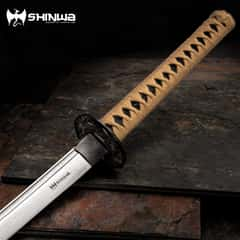 Shinwa Makaku Katana / Samurai Sword - Hand Forged Damascus Steel - Custom Cast Macaque Monkey Tree Tsuba  - Genuine Ray Skin; Hand Lacquered Saya - Fully Functional, Battle Ready, Full Tang