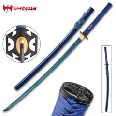 Shinwa Azure Sea Lily Handmade Katana / Samurai Sword - Hand Forged Blue 1045 Carbon Steel Blade, Hamon - Blue Leather - Wooden Display Stand, Saya - Fully Functional, Battle Ready - Full Tang