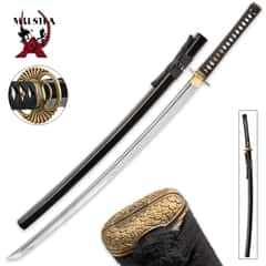 Hand Forged Musha Damascus Steel Katana Sword With Scabbard