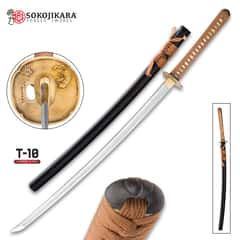 Sokojikara Dynasty Handmade Katana / Samurai Sword - T10 High Carbon Steel, Hand Forged, Clay Tempered - Genuine Ray Skin; Bronze Tsuba - Functional, Full Tang, Battle Ready