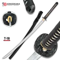 Sokojikara Scorn Handmade Katana / Samurai Sword - T10 High Carbon Steel, Hand Forged, Clay Tempered - Genuine Ray Skin; Iron Tsuba - Functional, Full Tang, Battle Ready
