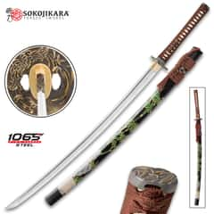 Sokojikara Shadow Grove Handmade Katana / Samurai Sword - 1065 High Carbon Steel, Hand Forged, Clay Tempered - Genuine Ray Skin; Brass Tsuba - Functional, Full Tang, Battle Ready