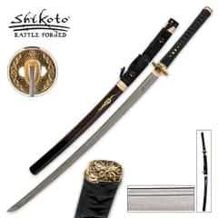 Shikoto Black Kogane Dynasty Forged Katana Sword Damascus