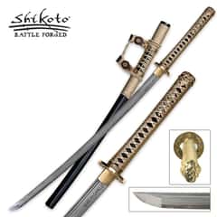 Shikoto Black Kogane Dynasty Forged Tachi Sword Damascus