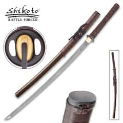 Shikoto Rurousha Handmade Katana / Samurai Sword - Hand Forged Damascus Steel; Engraved Kanji, Twin Fullers, Unique Genuine Leather Wrapping, Cast Tsuba - Functional, Battle Ready, Full Tang Tanto