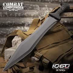 "United Cutlery Combat Commander Full-Tang Gladiator Sword With Nylon Belt Sheath - Gladius, Machete - 1065 High Carbon Steel, Piercing Point - 24"" Length"