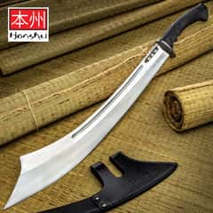 Honshu War Sword And Sheath - High Carbon Steel Blade, TPR Handle, Stainless Steel Guard - Length 30""