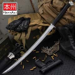 Honshu Boshin Wakizashi - Modern Tactical Samurai / Ninja Sword - Hand Forged 1060 Carbon Steel - Full Tang, Fully Functional, Battle Ready - Black TPR, Steel Guard and Pommel, Lanyard Hole - Scabbard
