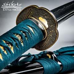 "Shikoto Hammer-Forged Longquan Master Teal Katana - 1060 Carbon Steel Blade, Tea-Dyed Rayskin, Brass Tsuba - Length 39 1/2"""