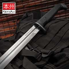 Honshu Boshin Damascus Double Edge Sword With Scabbard - Damascus Steel Blade, TPR Textured Handle, Stainless Guard And Pommel - Length 40 13/16""