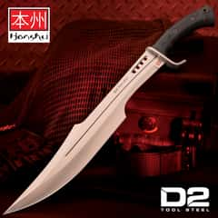 Honshu Spartan Sword And Sheath - D2 Tool Steel Blade, Grippy TPR Handle, Stainless Steel Guard - Length 23""