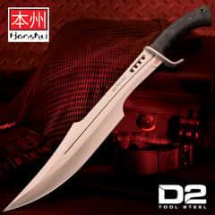 "Honshu Spartan Sword And Sheath - D2 Tool Steel Blade, Grippy TPR Handle, Stainless Steel Guard - Length 23"""