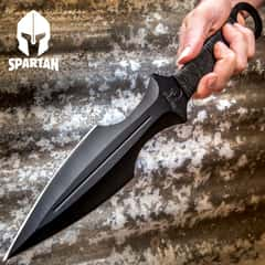 Super Spartan Throwing Dagger With Nylon Sheath - Stainless Steel Construction, Non-Reflective, Cord-Wrapped Handle - Length 14 3/4""