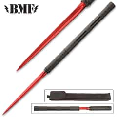 "B.M.F. Red Tri-Edged Baton Dagger With Sheath - 2Cr13 Stainless Steel Blade, Steel Tube, Black Oxide Finish - Length 16"""