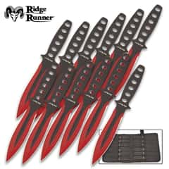 """Ridge Runner Searing Red Throwing Set With Pouch - 12 Knives, One-Piece Stainless Steel Construction, Penetrating Point - Length 5 3/4"""""""