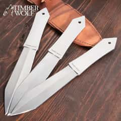 Timber Wolf Diamond Throwers Set With Sheath - Three Pieces, Solid Stainless Steel Construction, Double-Edged Blade - Length 11 3/4""