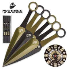 USMC Throwing Knife Set With Paper Target