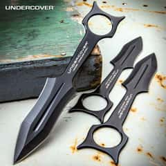 Undercover Kunai Throwing Knife Set - Three-Pieces, 3Cr13 Stainless Steel Construction, Nylon Belt Sheath - Length 9 3/4""