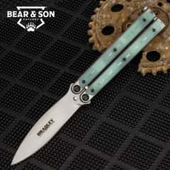 """Kimura Natural Butterfly Knife - 154CM Steel Blade, Stainless Steel And G10 Handle, American Made - Length 9"""""""