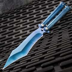Blue Phosphorescence Balisong Knife - Butterfly, Stainless Steel Blade, Solid Stainless Handle, Latch Lock, Flipper - Length 9 1/4""