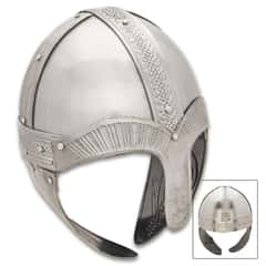 Viking Helmet With Nose Guard - Lightweight Aluminum Construction, Leather Lining, Cheek Guards, Viking Celtic Engraving