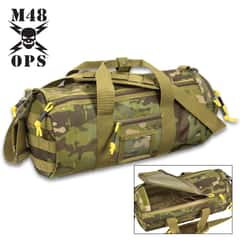 "M48 Military-Style Duffel Bag - Polyester Construction, Nylon Lining, Double-Zipper Top, Adjustable Shoulder Strap - Dimensions 17""x 7"""