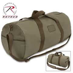 Rothco Vintage Two-Tone Canvas Duffle Bag - Heavyweight Cotton Canvas, Brass Hardware, Detachable Strap, Carry-On Handles