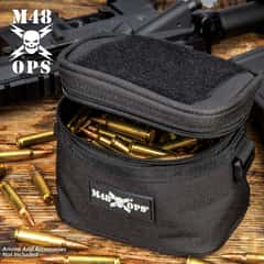 "M48 Soft-Side Black Ammo Bang Box - 600D Polyester Construction, Zipper Closure, ABS Loop On Each Side - Dimensions 5 1/4""x 4 1/4"""