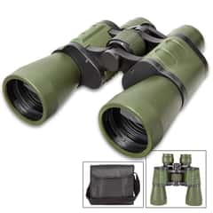 """10X50 Wide Angle Binoculars With Case - Metal Frame, Rubberized Body, Blue-Coated Lenses, Focus Wheel - Dimensions 7 1/2""""x 7 1/2"""""""