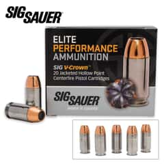 SIG Sauer Elite V-Crown .45 Auto Colt Pistol 185gr JHP Ammo - Box of 20