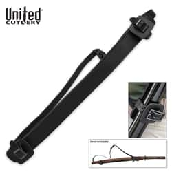 """Universal Fully Adjustable Faux Leather Shoulder Harness Sheath For Sword Or Katana - Scabbard Adjusts From 1"""" To 2 1/2"""" - 22 1/4"""" Overall"""