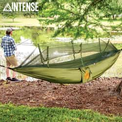 Intense Mosquito Net Covered Hammock Travel Bed - Parachute Nylon Material, Fine Mesh Netting, Carrying Pouch