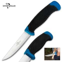 Wahoo Killer Multipurpose Knife - Bushcraft / Companion / Fixed Blade  - Blue
