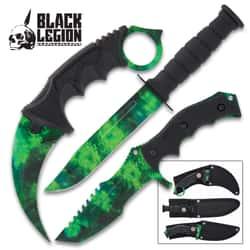 Black Legion Zombie Triple Knife Set - Karambit, Hunter Knife, Survival Knife, Stainless Steel Blades, TPU Handles, Nylon Sheaths